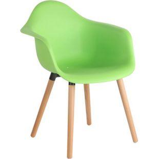 CLP Gartenstuhl Gaffney Mit Kunststoff-Sitzschale I Kunststoffstuhl Mit Rückenlehne I Sitzhöhe Von 45 cm I Buchenholzgestell... grün, Natura - Bild 1