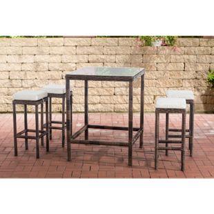 CLP Polyrattan Gartenbar-Set Alia 5mm I Rundrattan Gartenmöbel-Set Mit Tisch Und 4 Barhockern Inkl. Sitzkissen I In Verschiedenen Farben - Bild 1