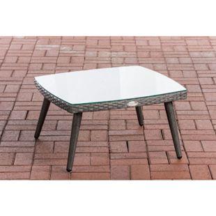 CLP Polyrattan Tisch Ameland I Tischhöhe 30 / 35 cm I Gartentisch Flachrattan I Kaffeetisch Mit 5mm Sicherheitsglasplatte... grau, 35 cm - Bild 1