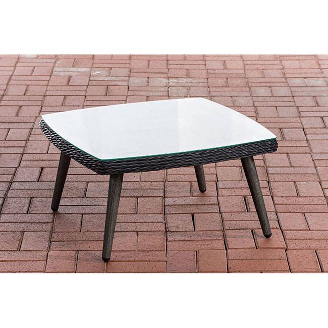 CLP Polyrattan Tisch Ameland 5mm I Tischhöhe 30 / 35 cm I Gartentisch Rundrattan I Kaffeetisch Mit 5mm Sicherheitsglasplatte I 5mm Rattandicke... schwarz, 35 cm - Bild 1