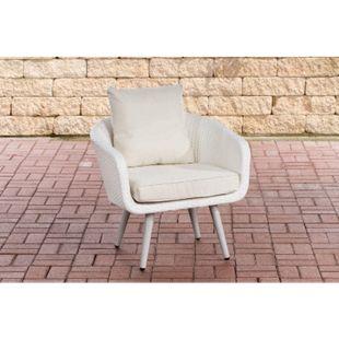 Polyrattan Sessel Ameland I Sitzhöhe 40 cm I Gartensessel Flachrattan I 1,25mm Rattandicke I Loungesessel... weiß, Cremeweiß - Bild 1