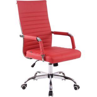 CLP Bürostuhl Amadora Kunstleder Mit Leichtlaufrollen   Chefsessel Mit Lehne   Höhenverstellbarer Ergonomischer Bürosessel... rot - Bild 1