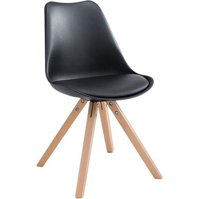 CLP Retro-Stuhl Toulouse Square Mit Kunstlederbezug | Kunstoff-Lehnstuhl Mit Holzgestell | In Verschiedenen Farben - Bild 1