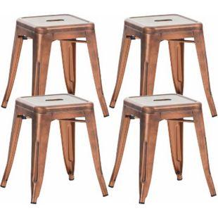 CLP 4er Set Sitzhocker Armin Aus Metall I Stapelbarer Hocker I Sitzhöhe Von 46 cm I Pflegeleichter Arbeitshocker... kupfer - Bild 1