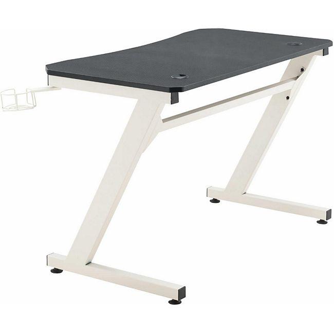 CLP Gaming Tisch Torrance I Computertisch Mit Z-Trägern I Schreibtisch Mit Kopfhörerhalterung... schwarz/weiß - Bild 1
