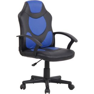 CLP Kinder Bürostuhl Adale I Höhenverstellbarer Schreibtischstuhl Mit Armlehnen I Drehstuhl Mit Leichtlaufrollen... schwarz/blau - Bild 1