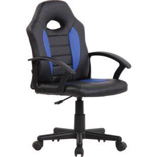 CLP Kinder Bürostuhl Femes I Höhenverstellbarer Schreibtischstuhl Mit Armlehnen I Drehstuhl Mit Leichtlaufrollen... schwarz/blau - Bild 1