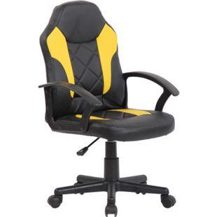CLP Kinder Bürostuhl Tafo I Höhenverstellbarer Schreibtischstuhl Mit Armlehnen I Drehstuhl Mit Leichtlaufrollen... schwarz/gelb - Bild 1