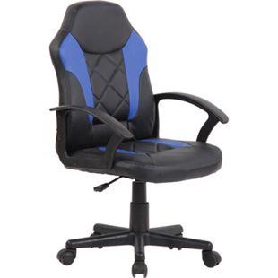 CLP Kinder Bürostuhl Tafo I Höhenverstellbarer Schreibtischstuhl Mit Armlehnen I Drehstuhl Mit Leichtlaufrollen... schwarz/blau - Bild 1