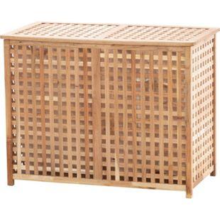 CLP Wäschebehälter Patea aus Holz I Wäschebox mit zwei Fächern I Wäschetruhe mit Deckel... walnuss - Bild 1