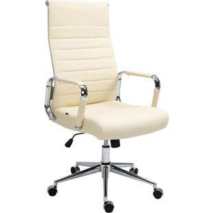 CLP Drehstuhl Kolumbus Echtleder I Chefsessel Mit Stufenloser Sitzhöhenverstellung I Bürosessel Mit Leichtlaufrollen... creme - Bild 1