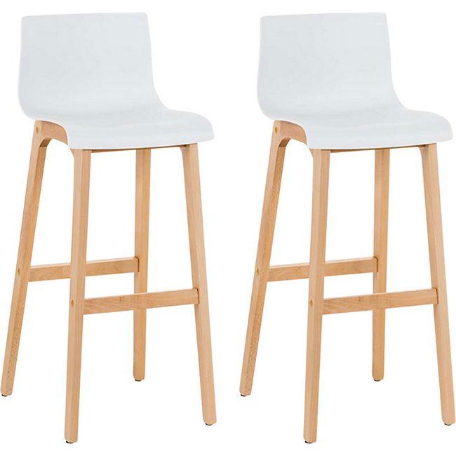CLP 2er Set Design Barhocker Hoover Mit Lehne Und Kunststoffsitz I Barstuhl Mit Holzgestell Und Fußstütze I Sitzhöhe 77 cm - Bild 1