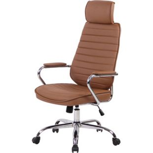 CLP Bürostuhl RAKO mit Kopfstütze und Laufrollen | Höhenverstellbarer Schreibtischstuhl mit Kunstlederbezug... hellbraun - Bild 1