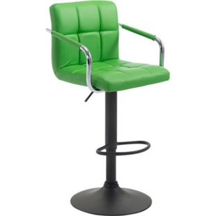 CLP Barhocker LUCY V2 Mit Kunstlederbezug I Höhenverstellbarer Barstuhl I Thekenhocker Mit Armlehnen Und Fußstütze... grün, Schwarz - Bild 1