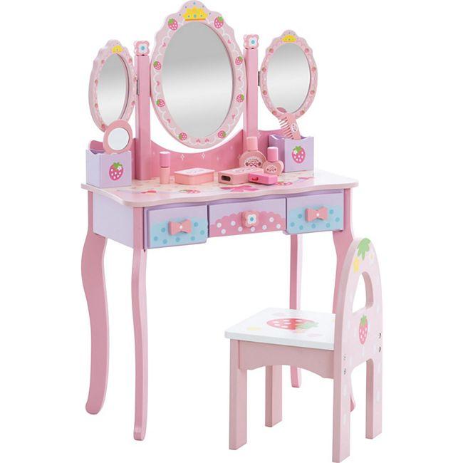 CLP Kinder Schminktisch Emilia I Frisiertisch mit Hocker I Schminkkommode mit Spiegel I inkl. Zubehör... pink - Bild 1