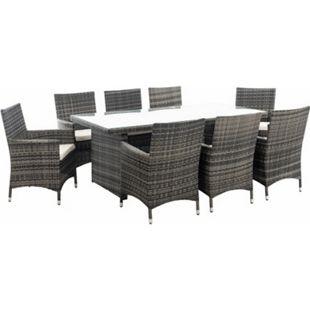 CLP Polyrattan-Sitzgruppe AVIGNON BIG | Garten-Set mit 8 Sitzplätzen | Komplett-Set bestehend aus: 1x Tisch und 8 Gartenstühlen und Sitzkissen... grau-meliert, Cremeweiß - Bild 1