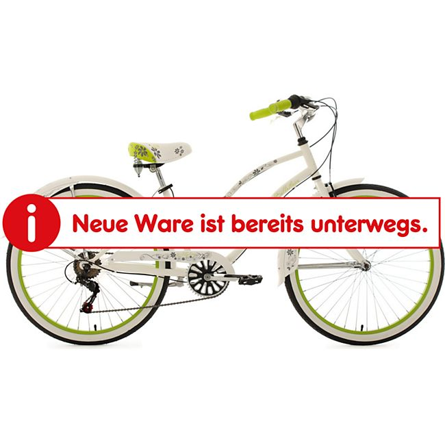 KS Cycling Beachcruiser 6 Gänge Bellefleur 26 Zoll weiß-grün - Bild 1