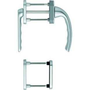 """Hoppe Balkontürgarnitur """"Tokyo"""" mit Rosette kurz Hals 0710KH für Profilzylinder LM in Aluminium silber - Balkontürgriff 8127318 - Bild 1"""