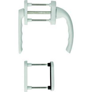 """Hoppe Balkontürgarnitur """"Tokyo"""" mit Rosette kurz Hals 0710KH für Profilzylinder in weiß - Balkont - Bild 1"""
