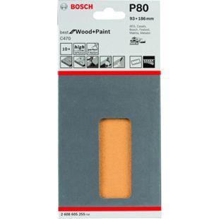 Bosch 10x Klett-Schleifblätter 93x185mm K 80 C470 Best for Wood & Paint top 2608605255 - Bild 1