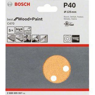 Bosch PEX-Schleifblätter 125 mm / K 40 PACK= 5 Stück  2608605067 - Bild 1