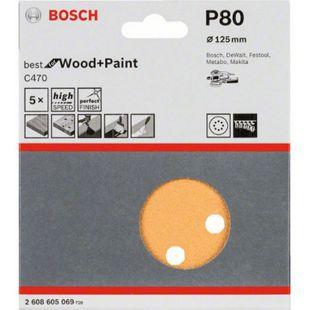 Bosch PEX-Schleifblätter 125 mm / K 80 PACK= 5 Stück  2608605069 - Bild 1