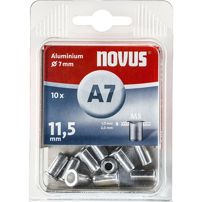 Novus Nietmutter M 5 X 11,5 Alu 10 Stk  045-0042 - Bild 1