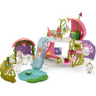 Schleich Spielfigur Bayala Glitzerndes Blütenhaus mit Einhörnern, See und Stall - Bild 1