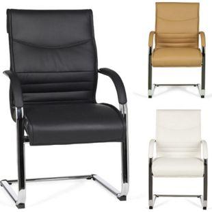 AMSTYLE Freischwinger MILANO Kunstleder Schwingstuhl mit Armlehnen Meetingstuhl mit Kippschutz Besucherstuhl - Bild 1