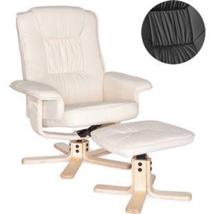 AMSTYLE Fernsehsessel COMFORT TV Design Relax-Sessel Bezug Kunstleder Schwarz drehbar mit Hocker XXL ohne Motor 110kg - Bild 1