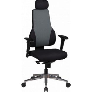 AMSTYLE Bürostuhl QENTIN schwarz/grau Schreibtischstuhl mit oder ohne Kopfstütze Synchronmechanik 120 kg - Bild 1