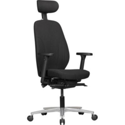 AMSTYLE Bürostuhl OSKAR mit Stoff-Bezug & Kopfstütze in Schwarz Design Chef-Sessel mit Synchromechanik & verstellbaren A