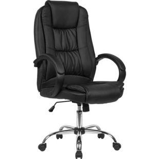 AMSTYLE Schreibtischstuhl Kunstleder Schwarz Drehstuhl bis 120 kg Bürosessel Höhenverstellbar Bürodrehstuhl - Bild 1