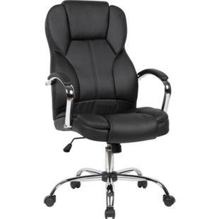 AMSTYLE Chefsessel Kunstleder Drehstuhl Schwarz Schreibtischstuhl bis 120 kg Bürosessel Höhenverstellbar - Bild 1