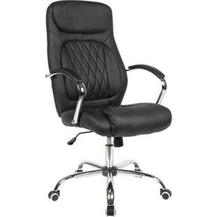 AMSTYLE Schreibtischstuhl Kunstleder Schwarz Bürosessel bis 120 kg Drehstuhl Höhenverstellbar Bürodrehstuhl - Bild 1