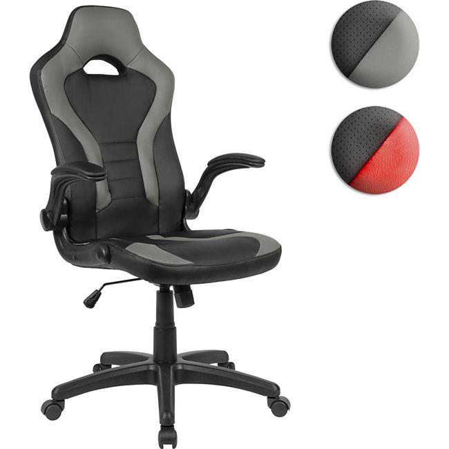 AMSTYLE Gaming-Drehstuhl Bezug Kunstleder Schwarz/Grau Schreibtischstuhl bis 120 kg | Büro-Drehsesssel mit beweglichen Armlehnen & hoher Rückenlehne - Bild 1