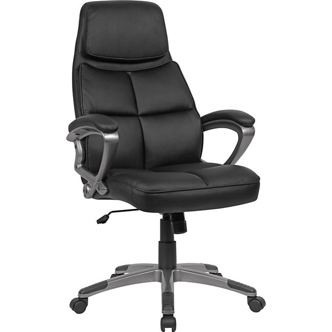 AMSTYLE Schreibtischstuhl Kunstleder Schwarz Bürodrehstuhl bis 120 kg Drehstuhl Höhenverstellbar Bürosessel - Bild 1