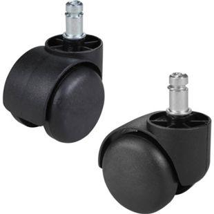AMSTYLE 5er Set gebremste Weichboden-Rollen für Bürostuhl 11 mm Stift / Durchmesser 50 mm Teppichrollen - Bild 1