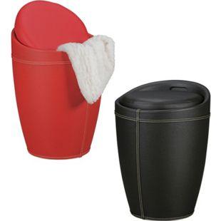 AMSTYLE Wäschebehälter LUCY Wäschekorb Hocker mit Funktion Badhocker Bezug Sitzhocker 100 kg - Bild 1
