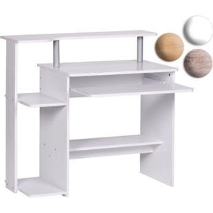 Wohnling Computertisch PC-Tisch mit Tastaturauszug 94x90x48 cm Schreibtisch platzsparend für kleine Räume - Bild 1