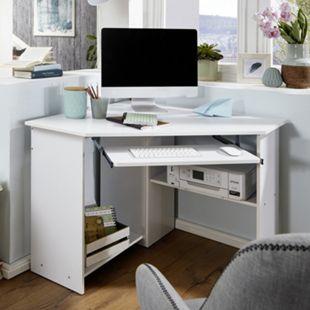 Wohnling Eckschreibtisch ROMAN Computertisch Weiß mit Tastaturauszug - Bild 1