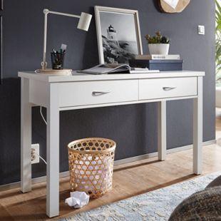 Wohnling Schreibtisch SAM Weiß mit 2 Schubladen 120 x 77 x 50 cm modern   Konsolentisch Schminktisch platzsparend   Laptoptisch Arbeitstisch für kleine Räume - Bild 1