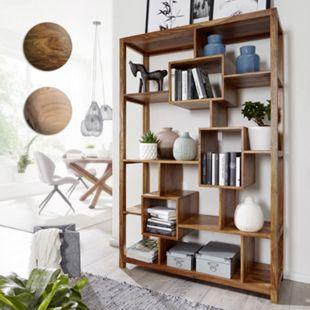 Wohnling Bücherregal MUMBAI Massivholz 115 x 180 cm Wohnzimmerregal Ablagefächer Landhausstil Standregal - Bild 1