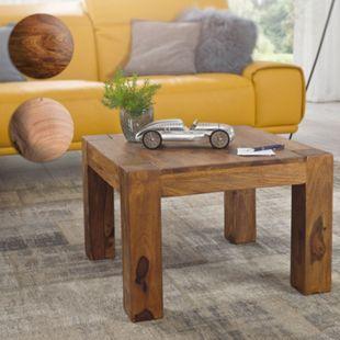 Wohnling Couchtisch MUMBAI Massivholz 60x60 cm Wohnzimmertisch Holztisch Natur Sofatisch Massiv Echtholz - Bild 1