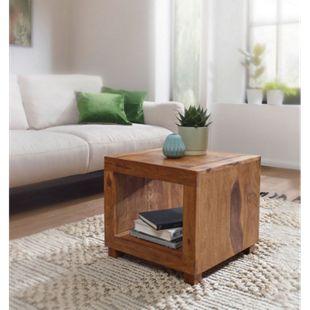 Wohnling Couchtisch MUMBAI Massivholz 50 cm breit Wohnzimmertisch dunkelbraun Landhausstil Beistelltisch - Bild 1