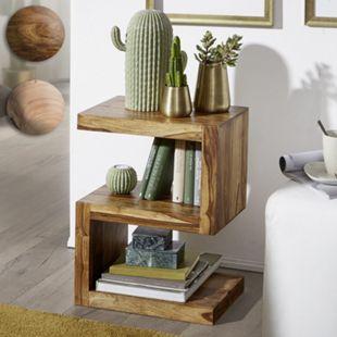 """Wohnling Beistelltisch MUMBAI Massivholz """"S"""" Cube 60cm hoch Wohnzimmertisch Landhaus-Stil Couchtisch - Bild 1"""