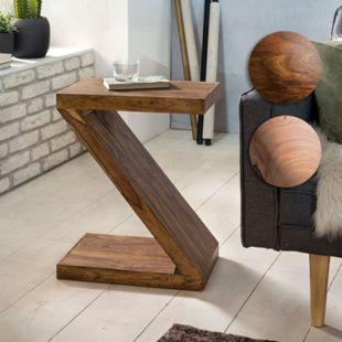 """Wohnling Beistelltisch MUMBAI Massivholz """"Z"""" Cube 60cm hoch Wohnzimmertisch braun Landhausstil Couchtisch - Bild 1"""