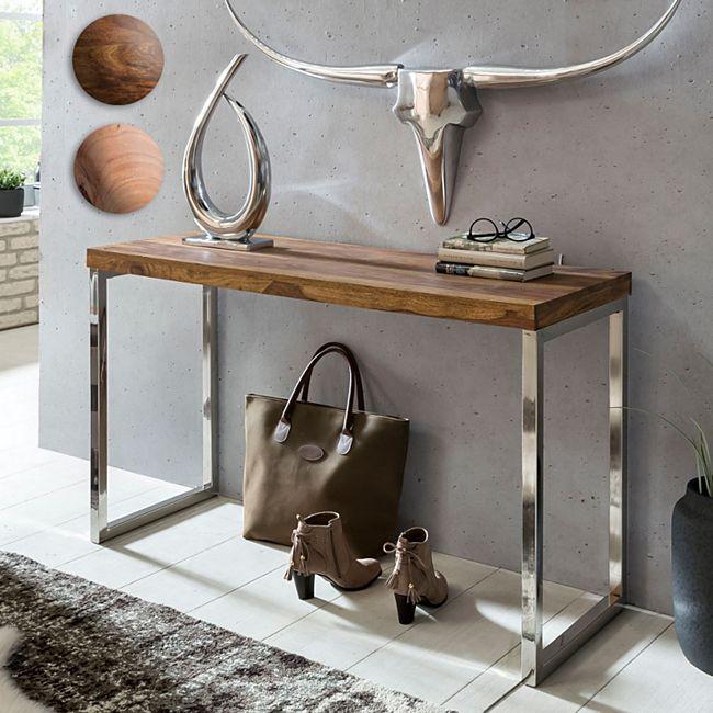 Wohnling Konsolentisch GUNA Massivholz Konsole mit Metallbeinen 120x45 cm Schreibtisch Echtholz Massiv - Bild 1