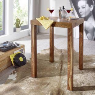 Wohnling Bartisch MUMBAI Massivholz Sheesham 80 x 80 x 110 cm Bistrotisch Landhausstil Holztisch dunkelbraun - Bild 1