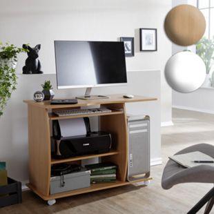 Wohnling Computertisch DIANA 90x71x50 cm mit Tastaturauszug Tisch feststellbare Rollen mit Druckerablage - Bild 1